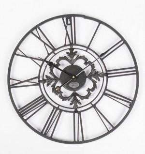 Wanduhr Metall im Landhausstil, Uhr schwarz  vintage, Ø 102 cm