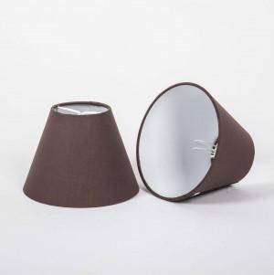 KIemmschirm braun, Aufsteckschirm rund, Lampenschirm für Kronleuchter,  Ø 16 cm