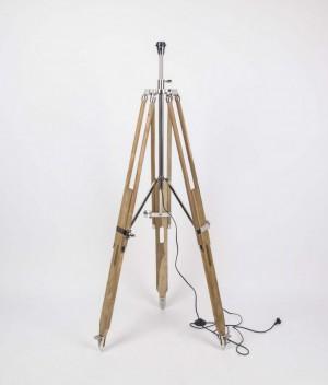 Lampenfuß für eine Stehlampe, Farbe Naturholz-Chrome, Höhe 114-180 cm
