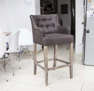 Barstuhl braun, Barhocker  braun im Landhausstil, Sitzhöhe 76 cm