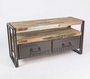 Fersehschrank, TV Lowboard aus Massivholz im Industriedesign mit zwei Schubladen