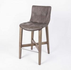 Barstuhl taupe, Barhocker gepolstert taupe, Tresenhocker taupe, Sitzhöhe 64 cm