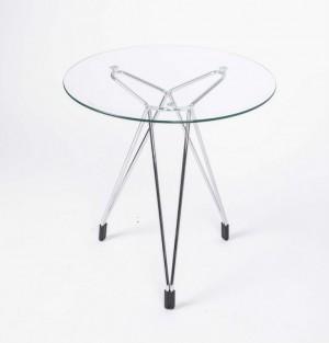 Moderner Beistelltisch  aus Glas und Metall,  Ø 50 cm