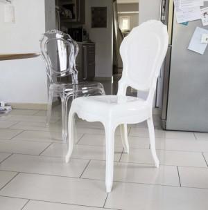 Stuhl Barock aus Polycarbonat, weiß-creme