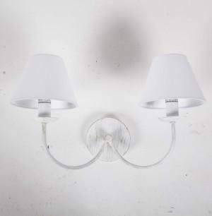 Landhaus Wandleuchte antik weiß zwei Lampenschirme