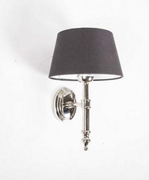 Wandleuchte verchromt, Farbe silber, Wandlampe mit Lampenschirm grau