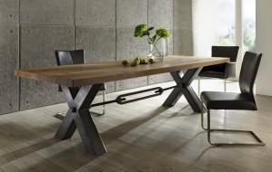 Esstisch massiv Eiche, Tisch Industriedesign Gestell aus Metall, Tisch Eiche massiv, Maße 280 x 100 cm