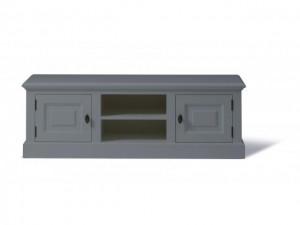 Lowboard grau, TV Schrank Massivholz, Fernseheschrank grau im Landhausstil
