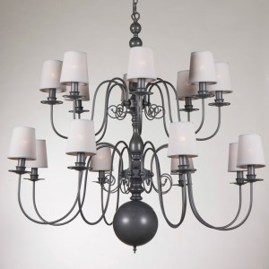 Kronleuchter 16-armig mit Lampenschirmen, Hängeleuchte im Landhausstil, Durchmesser 115 cm
