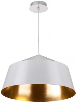 Hängelampe Metall weiß-gold, Pendelleuchte weiß-gold, Durchmesser 56 cm