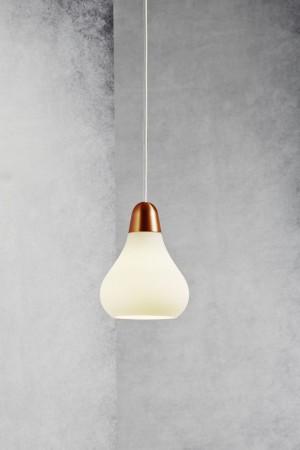 Moderne Pendelleuchte, Hängeleuchte, Farbe weiß, satin/ bronze, Ø 16 cm