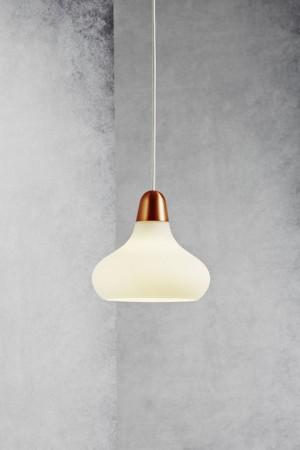 Moderne Pendelleuchte, Hängeleuchte, Farbe weiß, satin/ bronze, Ø 21,5 cm