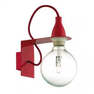 Wandleuchte Metall rot, Halogenlampe, Kabel