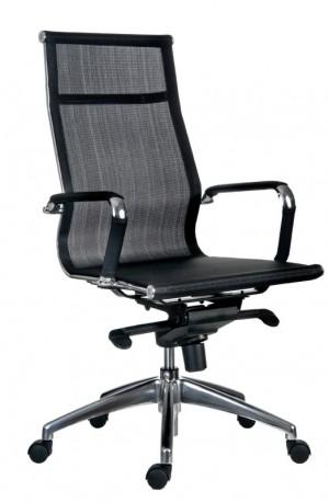 Bürostuhl mit hohe Rückenlehne,  Chefsessel, Farbe chrom-schwarz