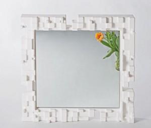 Design Spiegel, Wandspiegel, Spiegelrahmen aus Kunststoff, 80x80 cm
