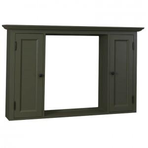 Spiegelschrank grau Massivholz,  Spiegel im Landhausstil, Maße 131x80 cm