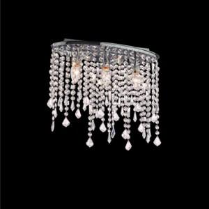 Deckenleuchte Kristallhänger transparent, Metall chrom
