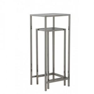 Säule vechromt Metall Glas 2er Set, Dekosäule Silber Glas-Metall, Höhe 100 cm