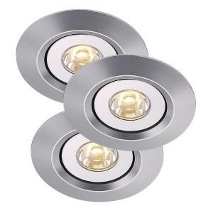LED Moderne Deckeneinbauleuchte, Farbe aluminium, Ø 6 cm, 3-er SET
