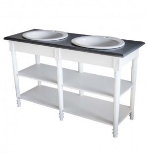 Waschtisch weiß-grau im Landhausstil, Badmöbel weiß, Breite 150 cm