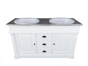 Waschtisch weiß-Silber Massivholz, Waschtisch verzinkte Tischplatte Landhausstil, Badmöbel Landhaus, Breite 150 cm