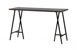 Schreibtisch grau, Schreibtisch Massivholz grau, Tisch grau Metall Tischbeine