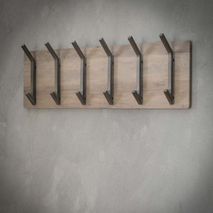 Wandgarderobe grau, Holz Garderobe mit Hacken, Garderobe grau Landhaus, Breite 90 cm
