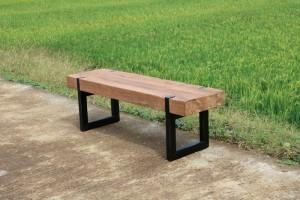 Bank Teakholz Industriedesign, Sitzbank Teak Industriedesign Metall Gestell, Bank Holz Teak, Breite 180 cm