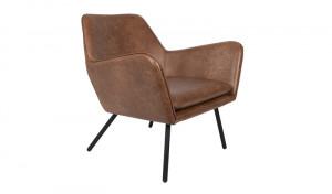 Sessel braun Metallgestell schwarz mit Armlehne, Sitzhöhe 42 cm