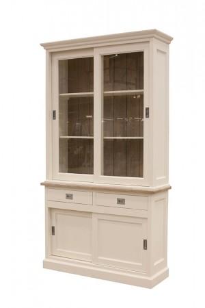 Vitrine weiß Landhaus, Vitrinenschrank weiß Landhausstil, Geschirrschrank weiß, Breite 120 cm