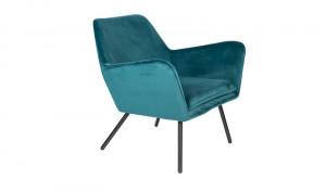 Sessel blau Metallgestell schwarz mit Armlehne, Sitzhöhe 42 cm