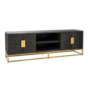 Fernsehschrank Gold schwarz, TV Schrank schwarz, Lowboard schwarz Gold, Breite 185 cm