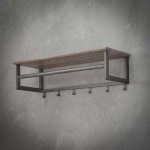 Wandgarderobe grau mit Hutablage, Garderobe mit Hacken Holz-Metall, Garderobe grau Landhaus, Breite 80 cm
