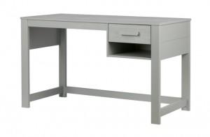 Schreibtisch grau, Schreibtisch Massivholz grau, Tisch grau Holz, Breite 125 cm