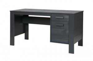 Tisch grau Holz, Schreibtisch grau, Schreibtisch Massivholz grau, Breite 141 cm
