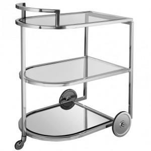 Servierwagen Glas Metall, Barwagen Silber, Trolley Silber