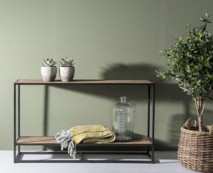 Konsole Industriedesign, Konsole Metall-Gestell, Wandtisch Altholz, Breite 120 cm
