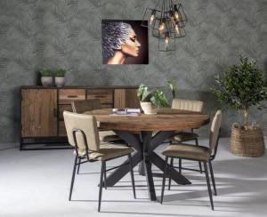 Runder Tisch Industriedesign, Tisch rund Metall-Gestell,Tisch Altholz rund, Durchmesser 150 cm