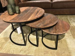 3er Set Couchtisch rund Industriedesign, runder Couchtisch Metall-Gestell,Tisch Altholz rund, Durchmesser 77 cm
