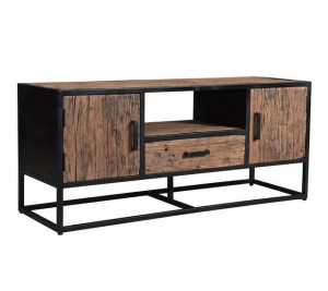 TV Schrank Industriedesign, Fernsehschrank Metall-Gestell, Fernsehschrank Industrie, Breite 130 cm