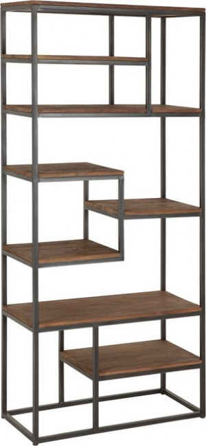 Regal Industrie, Bücherregal Metall Holz, Breite 80 cm