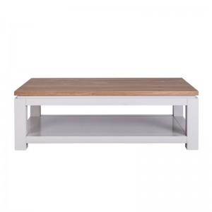 Couchtisch weiß Eiche Massivholz, Tisch weiß Landhaus, Breite 130 cm