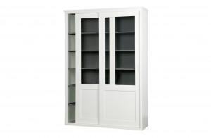 Vitrinenschrank weiß, Geschirrschrank weiß Landhaus, Vitrine weiß Schiebetüren, Buffet-Schrank weiß-grau, Breite 147 cm