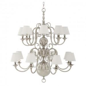 Kronleuchter verchromt 16 flammig, weiße Lampenschirmen, Hängelüster silber, Kronleuchter Lampenschirme weiß, Durchmesser 106 cm