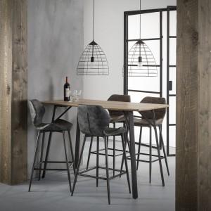 Bartisch im Industriedesign,  Bartisch Metall-Holz, Höhe 92 cm
