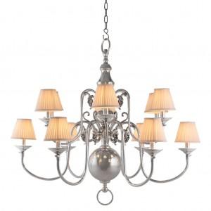 Kronleuchter verchromt 12 flammig mit weißen Lampenschirmen, Hängelüster silber, Kronleuchter mit Lampenschirmen weiß, Durchmesser 115 cm