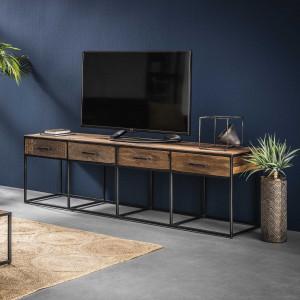 TV Schrank Altholz Industriedesign, TV Regal Metall-Gestell, Fernsehschrank Industriedesign, Breite 180 cm