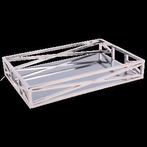 Silbert Tablett verchromt, Metall Tablett, Maße 60 x 40 cm