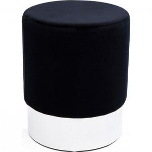 Hocker rund schwarz-silber, Hocker schwarz rund, Durchmesser 35 cm