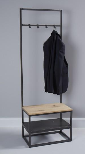 Garderobe Industriedesign, Standgarderobe mit Bank, Metall Garderobe
